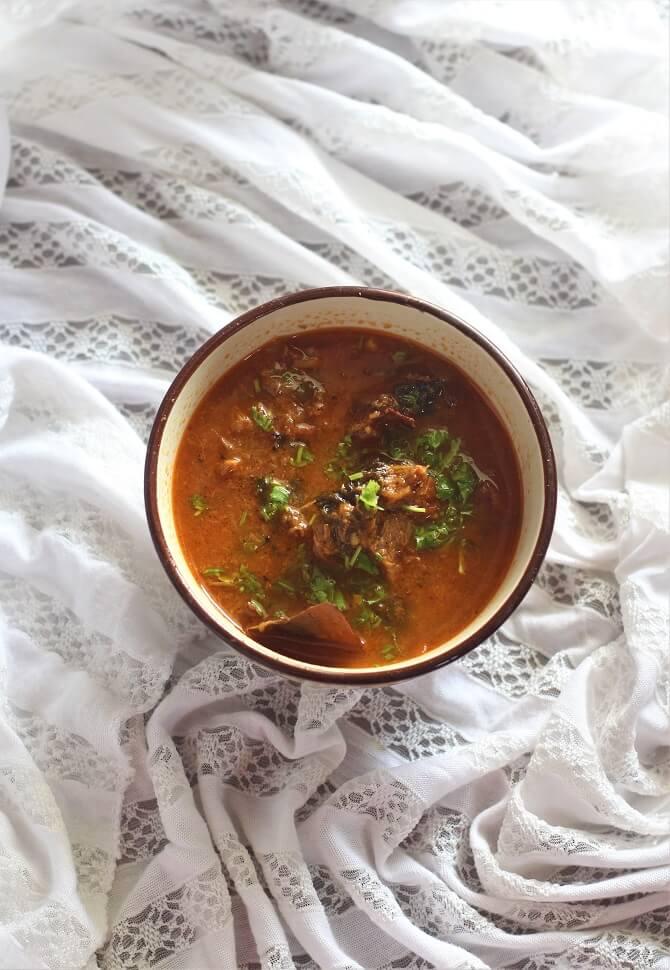 mutton korma recipe in a bowl