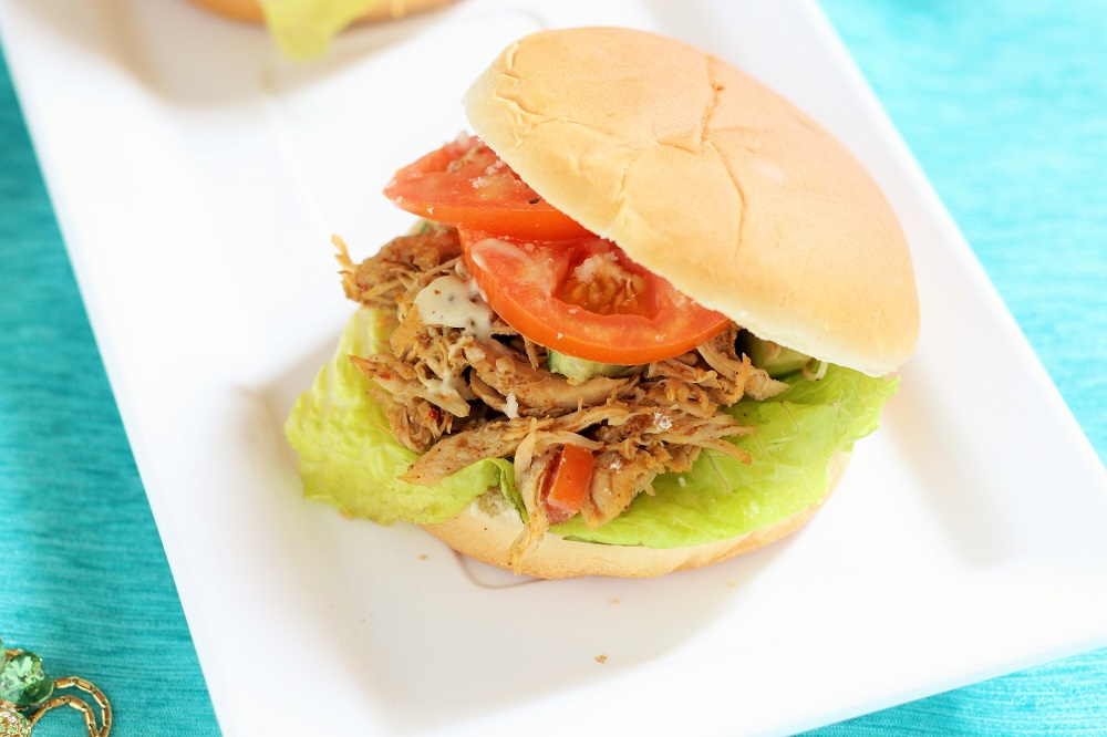 Indian Spiced Shredded Chicken Salad Sandwich