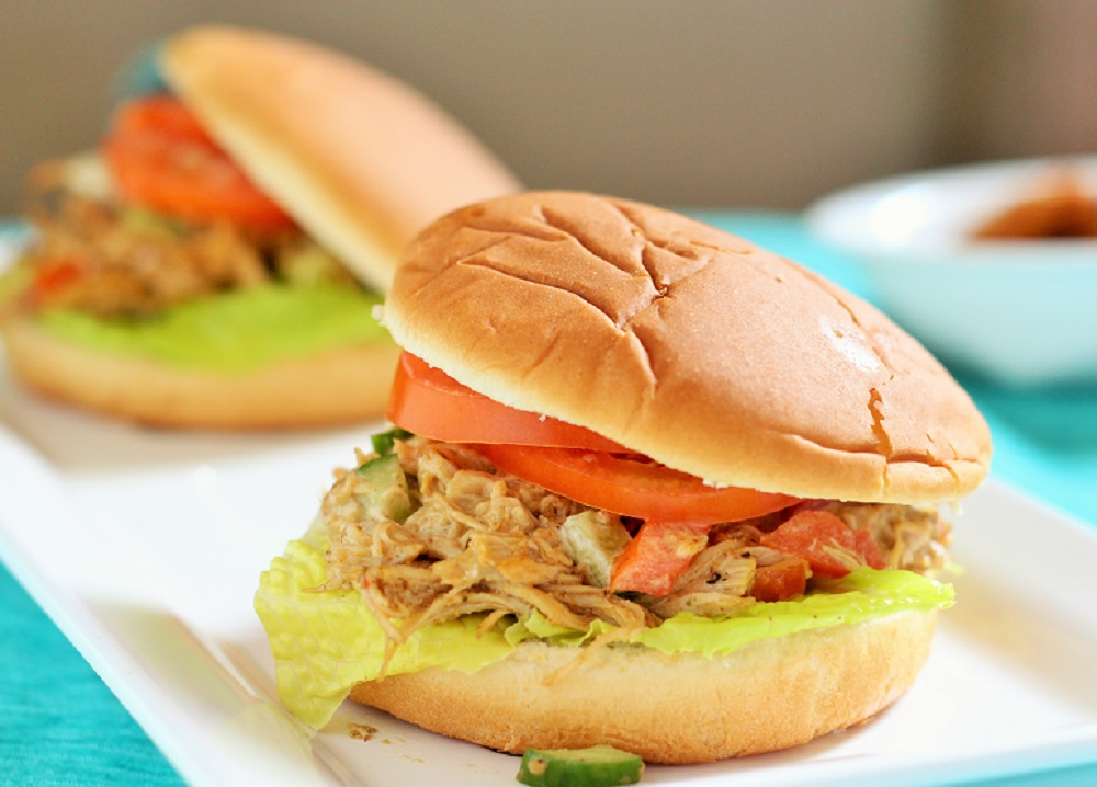 Spiced Shredded Chicken Salad Sandwich recipe