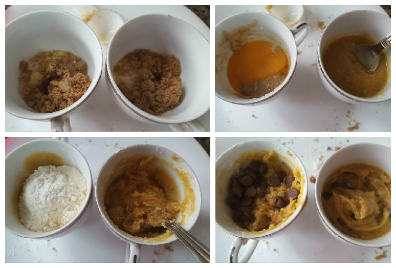 step by step process of making the microwave chocolate chip cookie