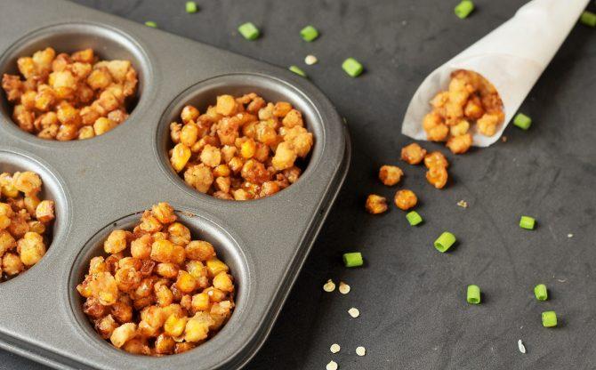 crunchy corn nuts recipe in a muffin tray