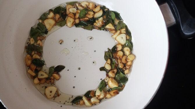 garlic browned in white pan