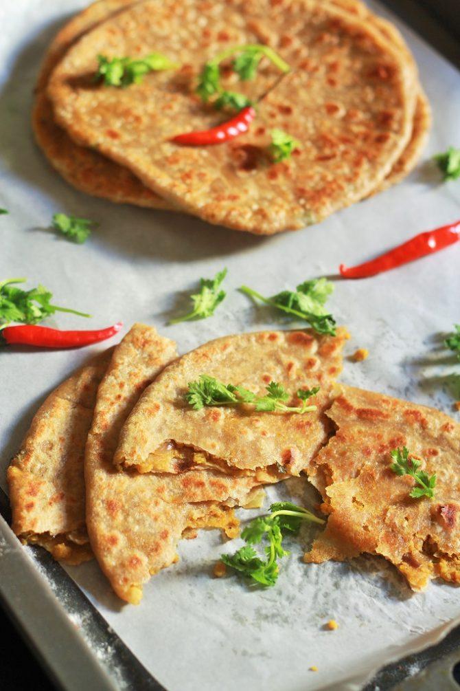 mutton keema paratha cut into pieces