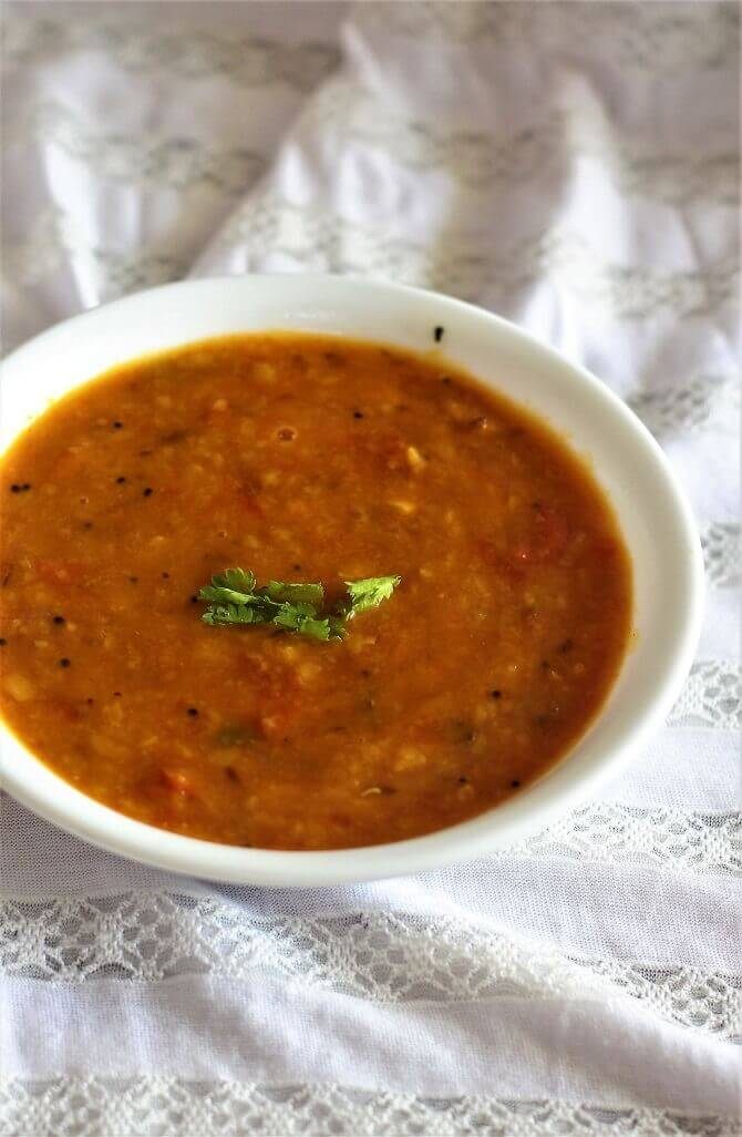side view of Andhra tomato pappu recipe