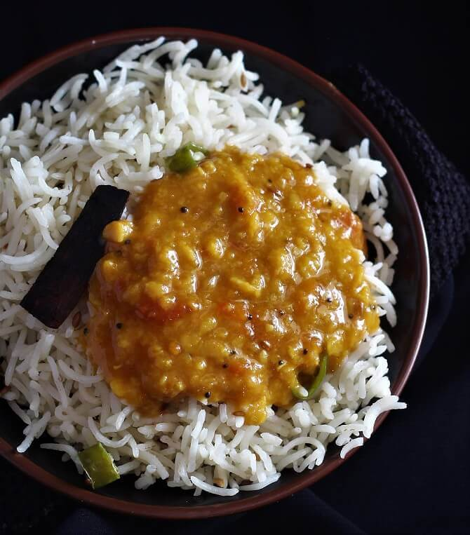 tomato dal recipe served along with rice