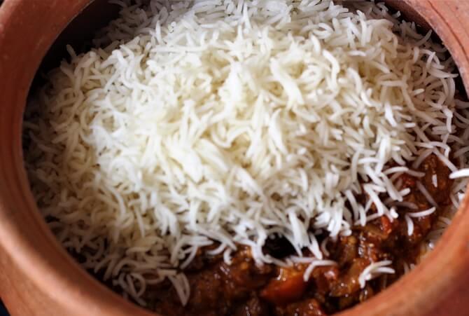 rice layered for hyderabadi egg biryani