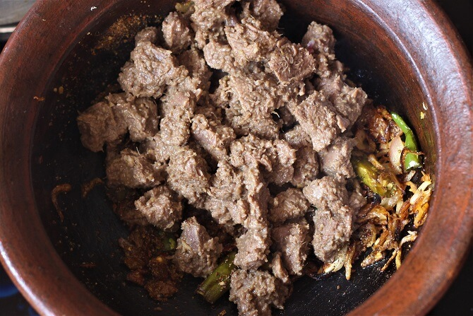 mutton in masala for preparing chettinad mutton sukka recipe