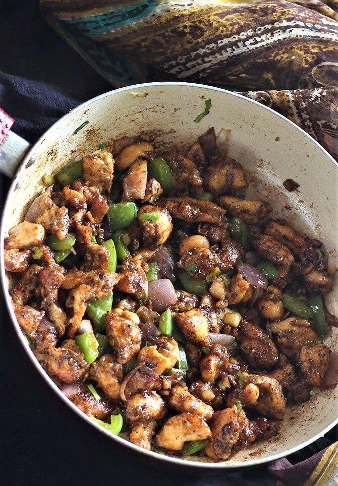 side view of dry chilli chicken recipe