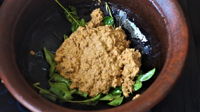 spice paste added in the tempering