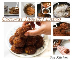 Coconut Jaggery Ladoo is a delicious dessert made with coconut and jaggery. It is known as Nariyal Gud Ladoo in Hindi and Thengai Vellam Ladoo in Tamil.