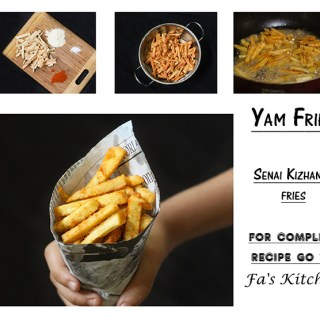 Yam Fry or the Elephant Yam Fries is a tasty alternative to the French Fries. Easy and quick to make, there is no rocket science involved in making these delicious fries.