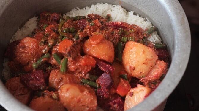 veggie masala added to rice