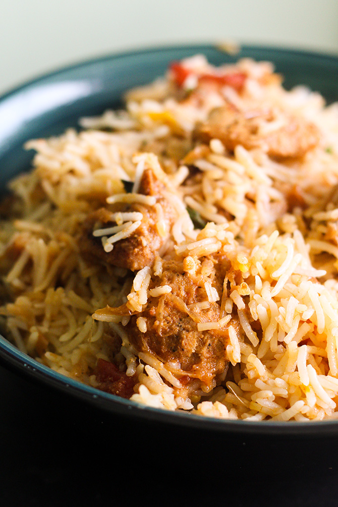 Chicken Tikka Biryani recipe is a very unique and tasty biryani preparation. This biryani recipe is very different and not very easily available in the restaurants.