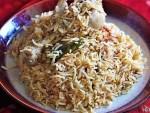 side view of south indian chicken biryani recipe