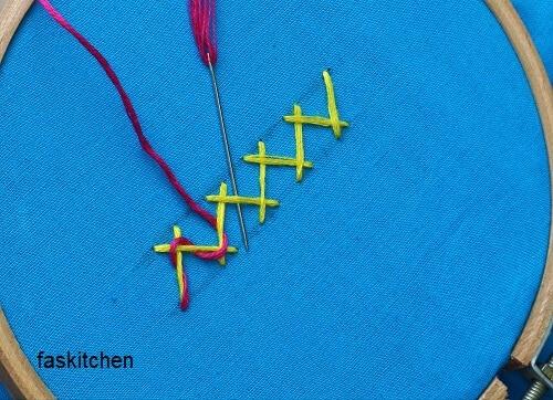making the threaded herringbone stitch