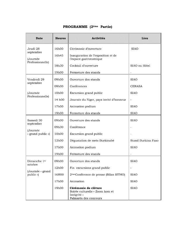 Programme indicatif du SITHO 2017-3
