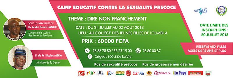 CAMP ÉDUCATIF CONTRE LA SEXUALITÉ PRÉCOCE