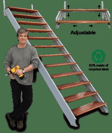 Fast Stairs Stringer Kits Easy To Use Under 1 Hour | Pre Built Outdoor Steps | Exit | Premade | Prefabricated | 4 Step Deck | Residential Outdoor Metal