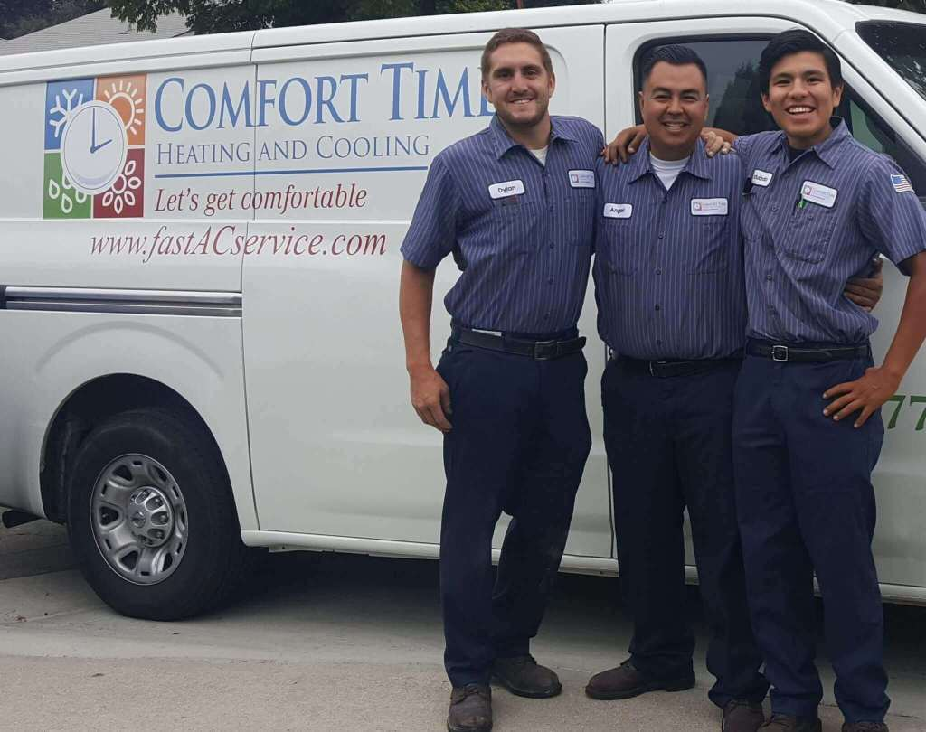 Comfort Time Technicians Dylan and Eduardo with Angel