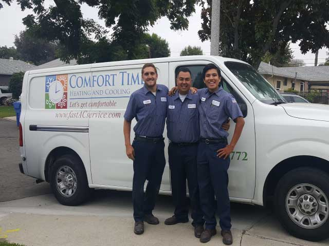 Angel with pro HVAC techs Dylan and Eduardo