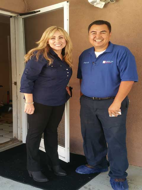 Angel with a happy customer in the city of Monterey Park