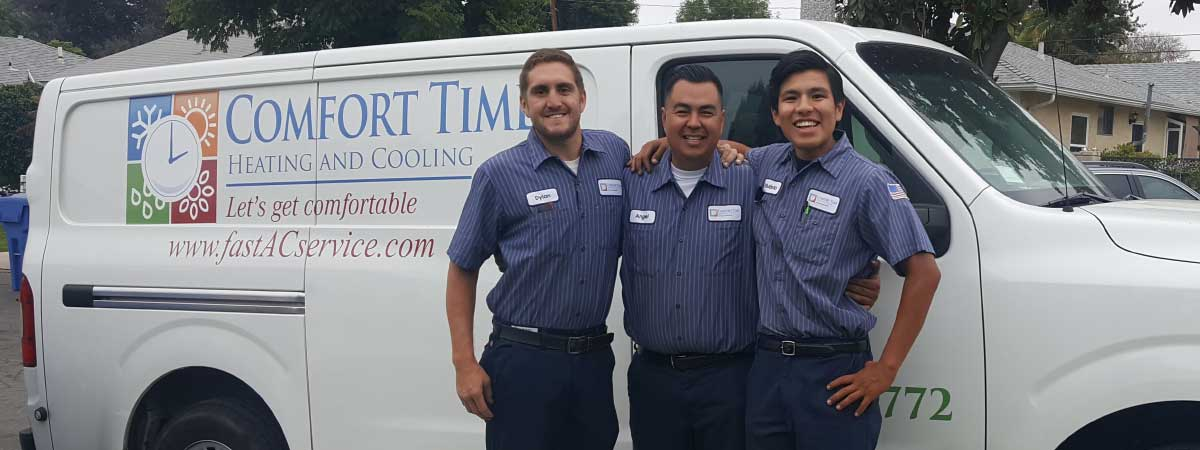 Comfort time heating and cooling team after a furnace installation
