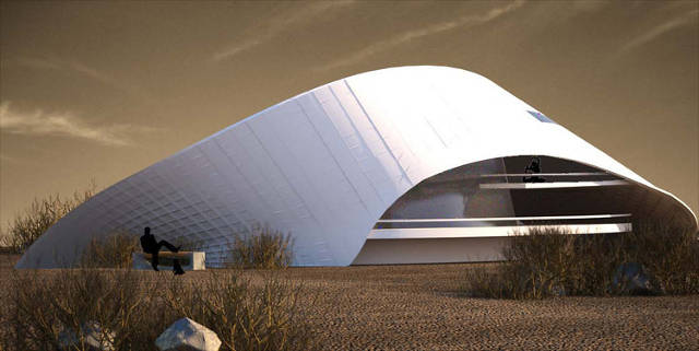 This self-cooling desert house, inspired by snails, is a good example of biomimcry.