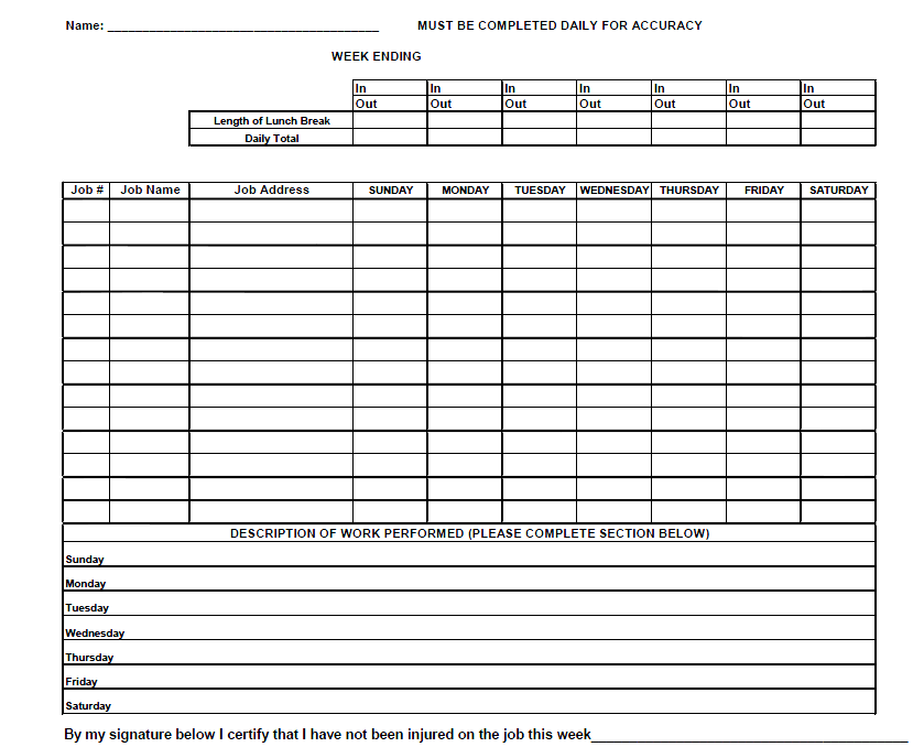 sample time card for employees