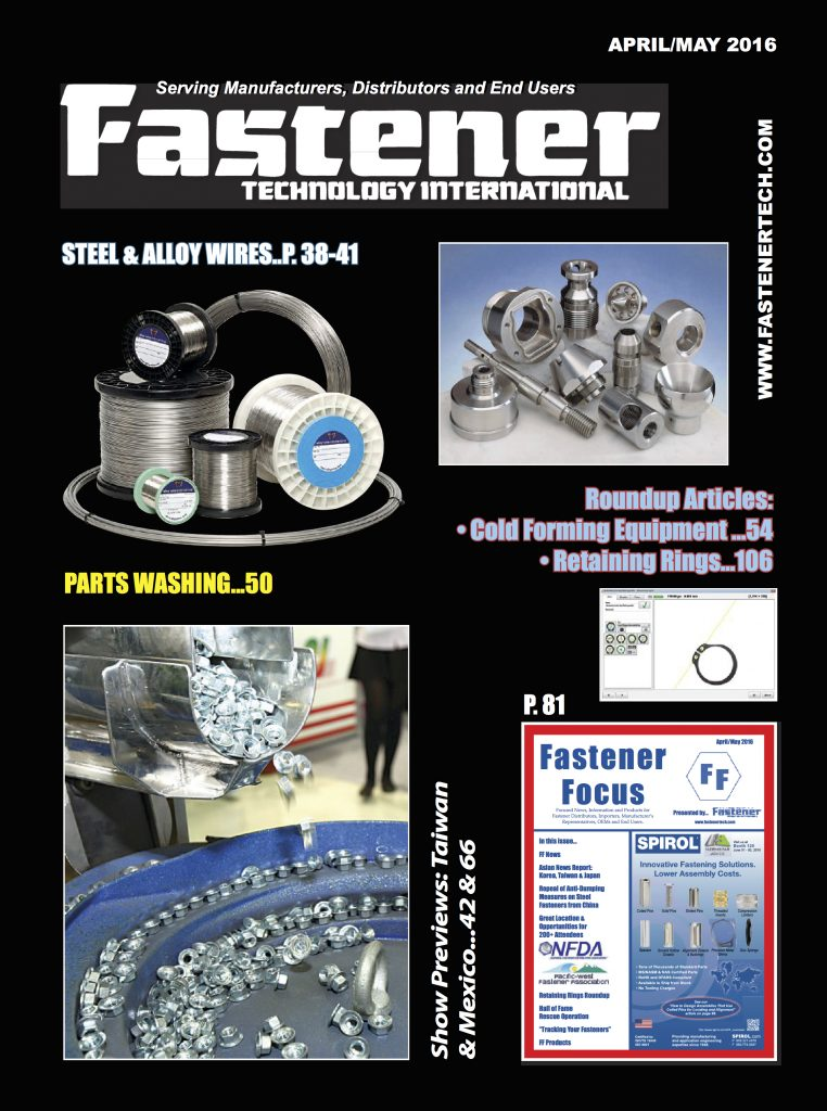 Fastener Technology International April May 2016 COVER