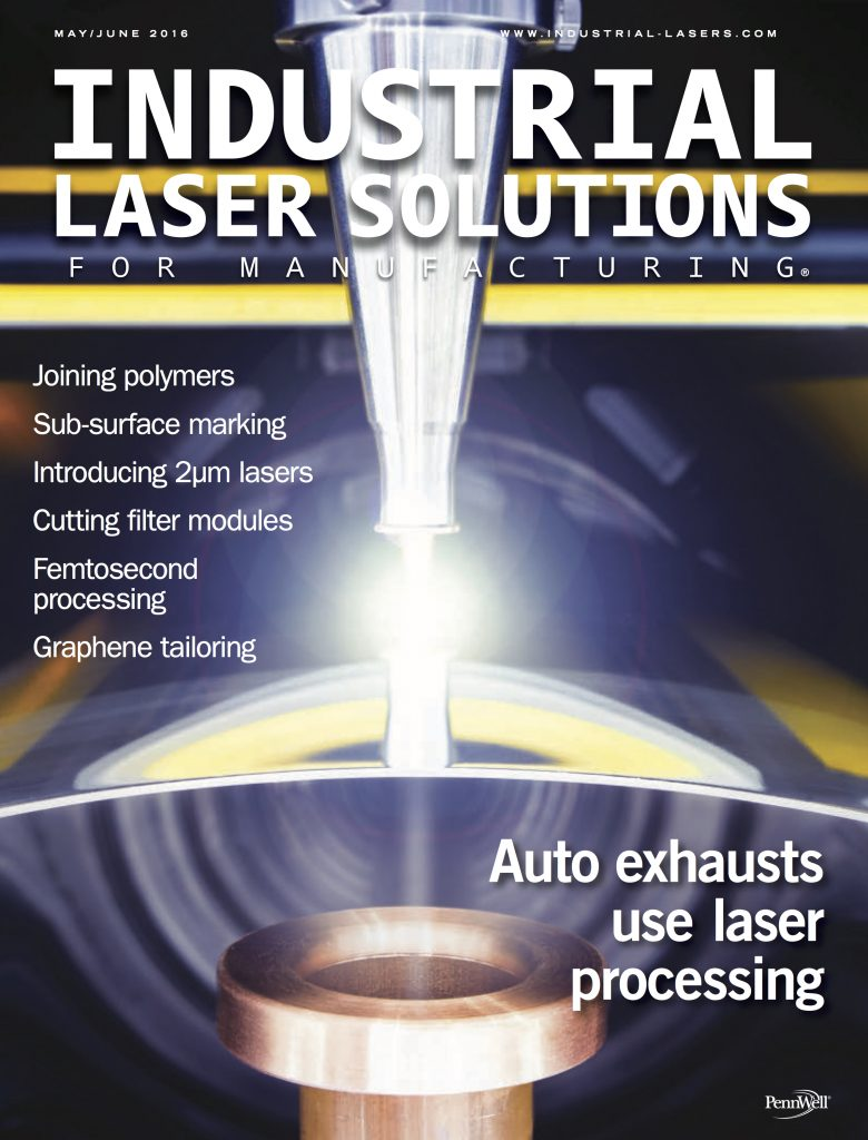 Industrial Laser Solutions for Manufacturing May June 2016 COVER