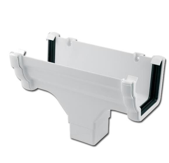 Ogee Gutter Run Outlet (White)   Guttering   PVC Gutter   PVC Rainwater Goods   Faster Plastics