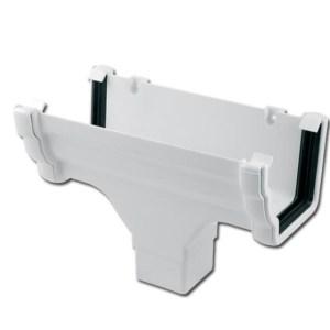 Ogee Gutter Run Outlet (White) | Guttering | PVC Gutter | PVC Rainwater Goods | Faster Plastics