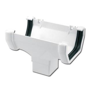 Square Gutter Run Outlet (White) | Guttering | PVC Gutter | PVC Rainwater Goods | Faster Plastics