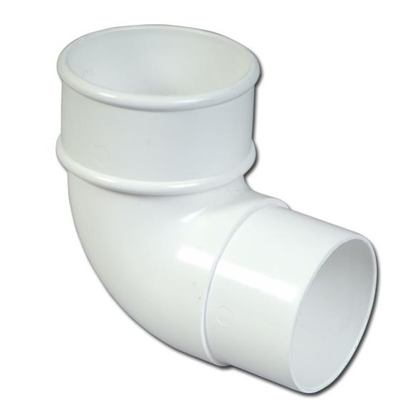 Round Downpipe Offset Bend 90 Deg (White) | Guttering | PVC Gutter | PVC Rainwater Goods | Faster Plastics