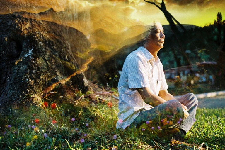 My father was meditating on grass in the Bach Thao zoo, Hanoi, is overload by the moutains from Da Lat, Viet Nam on August, 2013