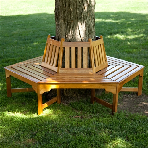 Hexagonal Outdoor Tree Bench In Weather Resistant Cedar