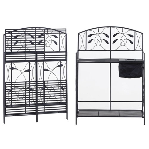 Black Metal Potting Bench With Wrought Iron Vine Details
