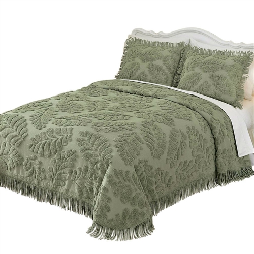 Queen Size Sage Green Luxurious Chenille Bedspread In 100