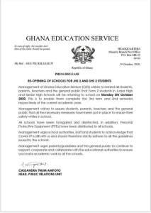 Just In: SHS 2 And JHS 2 Students To Resume School On Monday, GES. 4