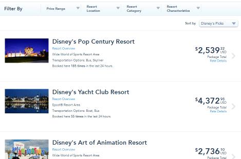 Pick Your Walt Disney World Resort