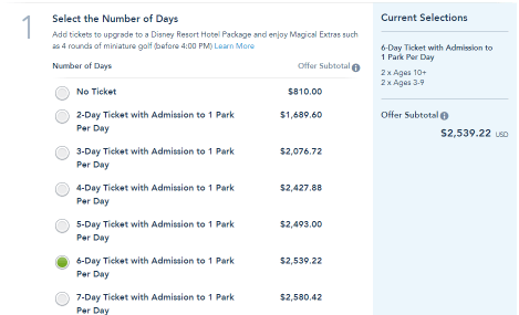 Add Your Park Tickets