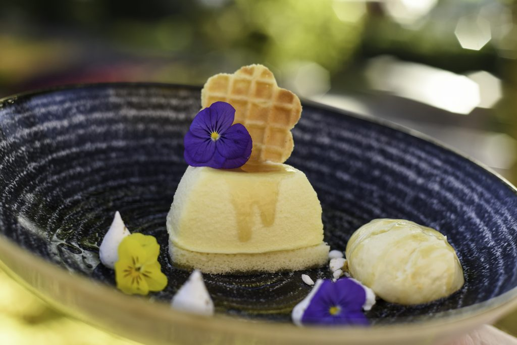 Local Wildflower Honey-mascarpone Cheesecake with Orange Blossom Honey Ice Cream garnished with Fennel Pollen Meringue Kisses and Petite Lavender Shoots