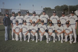 "1984 Lowder Electric, Bakersfield, CA, Runner-up ASA ""A"" Nationals. (Editor, back row, third player from left, click to enlarge)"