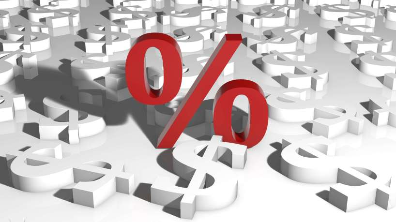Red interest rate symbol with white dollar signs
