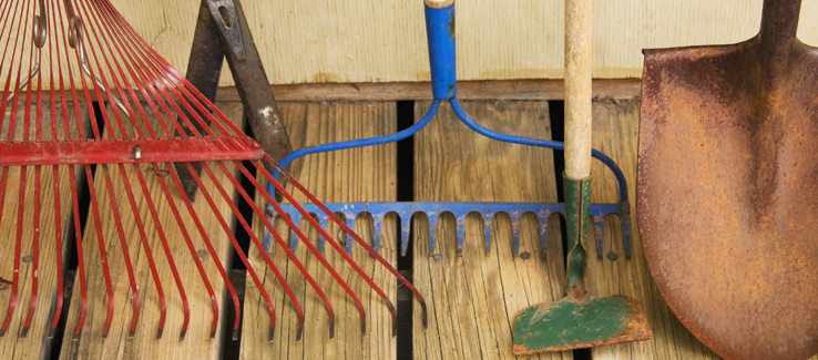 Clean gardening tools and landscape equipment