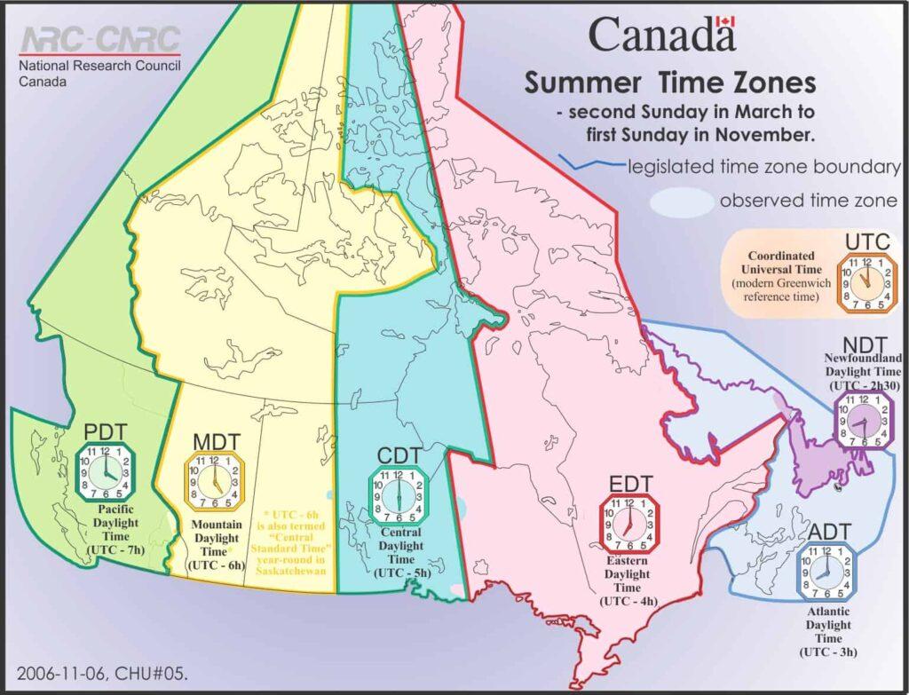Kanada Uhrzeit