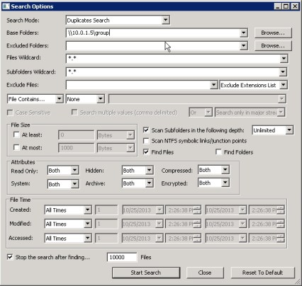 SearchMyFiles with Duplicates finder.  No frills here, options are simple and easy to configure