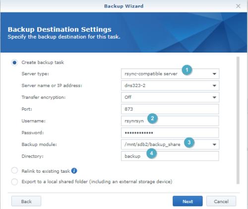Backup Wizar  Backup Destination Settings  Specify the backup destination for this task.  backup tuk  type:  or IP  Tænsfer  module:  Di recto  Relink to task  dE323-2  Ex;crt shared folder (including an deve