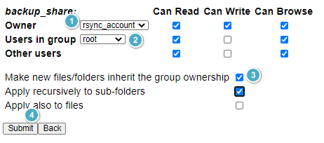 backup_share:  Can Read  Owner  Users in group root  Other users  Can Write Can Browse  Make new files/folders inherit the group ownership O O  Apply recursively to sub-folders  Applv also to files  Submit Back
