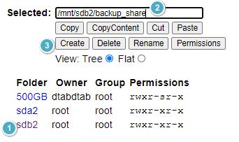 Selected: \mnt/sdb2'backu sha  View: Tree S Flat O  Folder Owner Group Permissions  500Ga dtaödtaö root  sda2 root  root  O db2 root  root